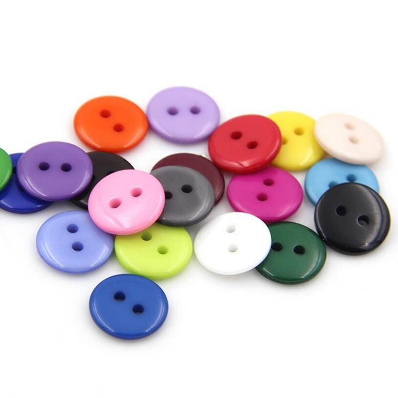 160pcs Round Resin Buttons Grey Blue Red White Black 2 Holes Fit Sewing And Scrapbooking 12