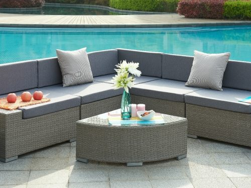 0014184 valencia aluminum frame sectional outdoor sofa set with quarter round coffee table
